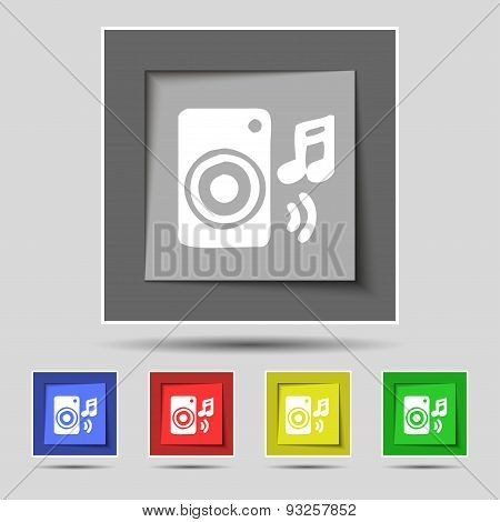 Music Column, Disco, Music, Melody, Speaker Icon Sign On Original Five Colored Buttons. Vector