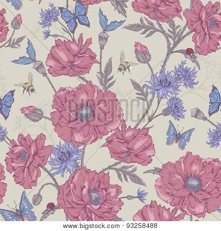 Summer Vintage Floral Seamless Pattern with Blooming Poppies