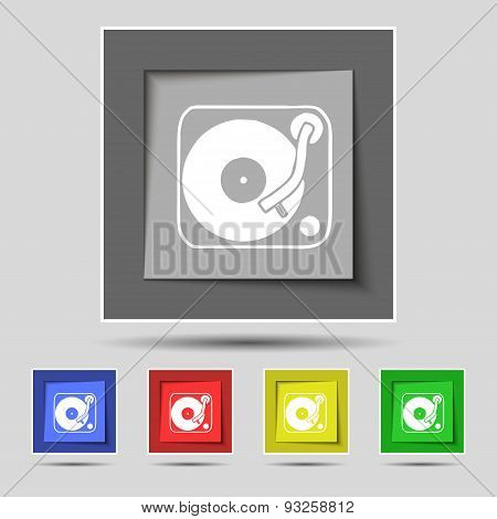 Gramophone, Vinyl Icon Sign On Original Five Colored Buttons. Vector