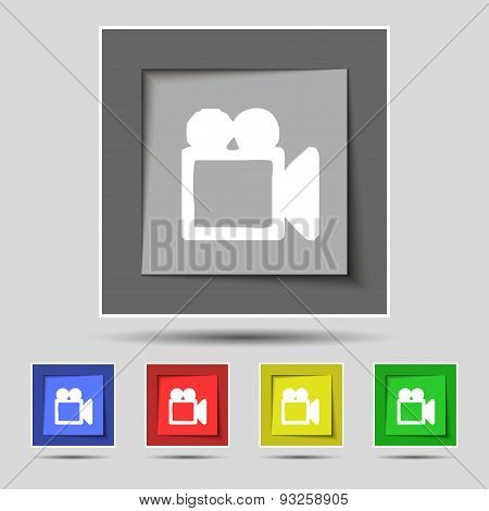 Camcorder Icon Sign On Original Five Colored Buttons. Vector