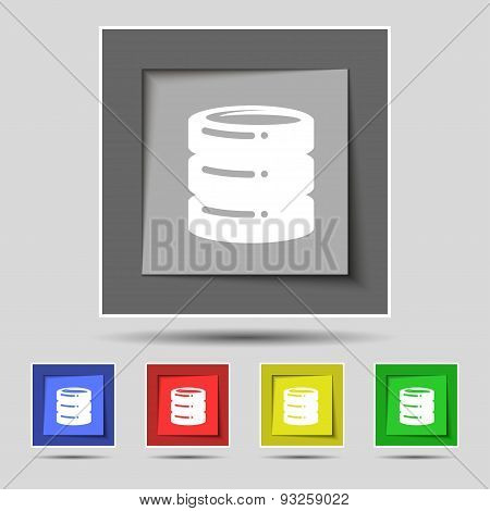 Hard Disk Icon Sign On Original Five Colored Buttons. Vector