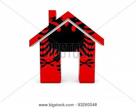 Home With Flag Of Albania