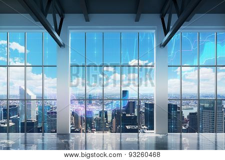 Contemporary Office With New York View. Financial Charts Are Drawn Over The Windows.