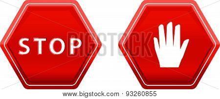 Sign Of Stop And Hand Vector Sign Symbol