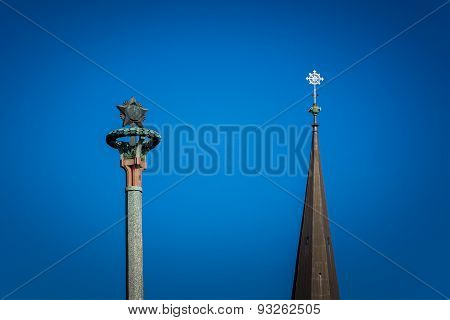 Two Towers, Cross & Soviet Star On A Background Of Blue Sky