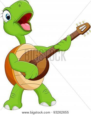 Cartoon turtle playing guitar