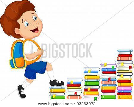 Child cartoon climbing stairs