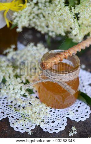 Elderflower honey in jar