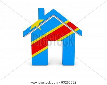 Home With Flag Of Democratic Republic Of The Congo