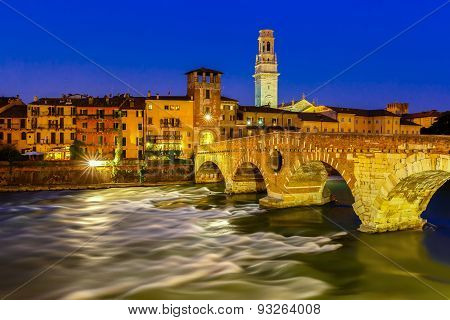 Ponte Pietra and Adige at night, Verona, Italy