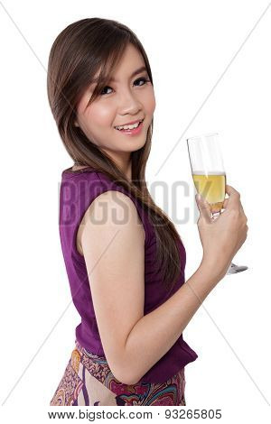 Fresh Looking Woman And Champagne Glass, On White