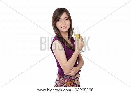Elegant Asian Woman, On White