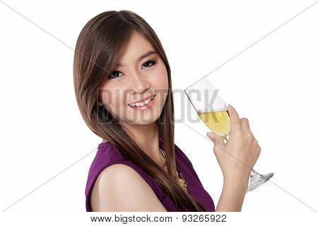 Beautiful Smile And Champagne, On White