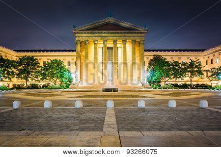 The Art Museum At Night, In Philadelphia, Pennsylvania.