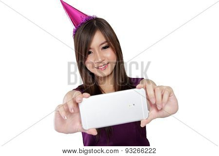 Happy Asian Party Girl Selfie, On White