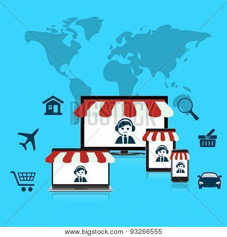 Concept, online, shop, e-commerce, flat,  style, computer, mobile, phone, laptop