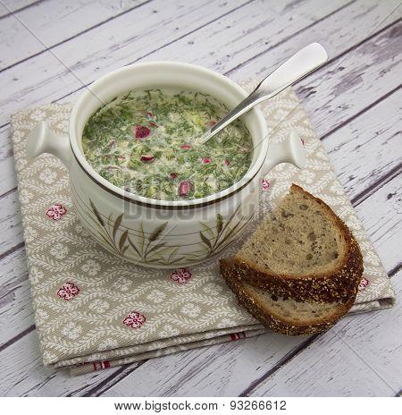 Okroshka - Russian Summer Cold Soup.