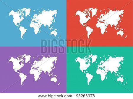 World Map ( Flat Design )