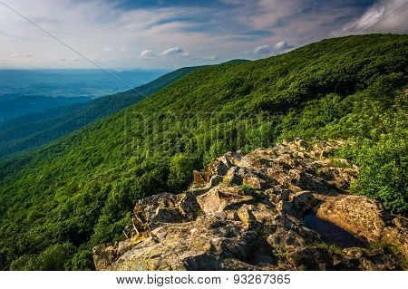 View From Crescent Rock, In Shenandoah National Park, Virginia.
