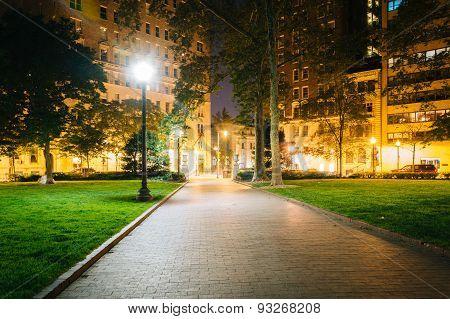 Walkway And Buildings At Night, At Rittenhouse Square In Philadelphia, Pennsylvania.