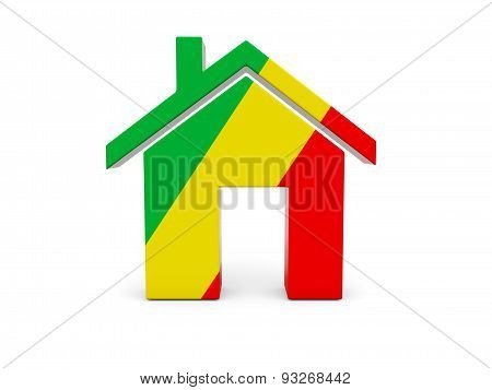 Home With Flag Of Republic Of The Congo