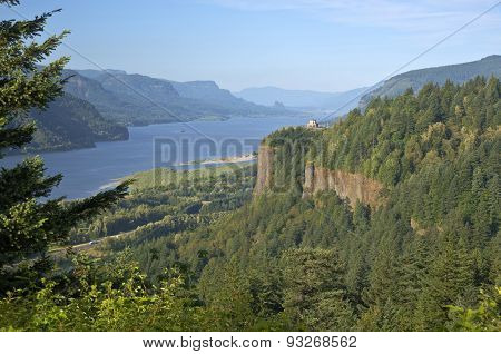 Columbia River Gorge And Surrounding Forests.