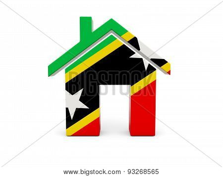 Home With Flag Of Saint Kitts And Nevis