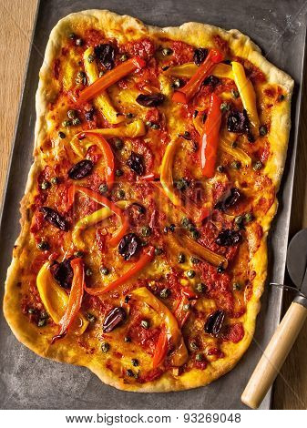 Rustic Italian Thin Crust Vegetarian Pizza