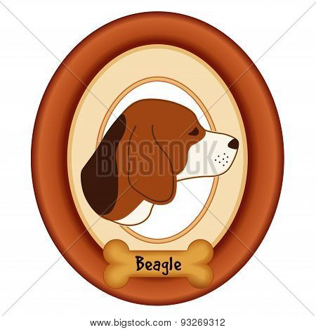 Beagle Portrait, Wood Frame, Dog Bone Treat Tag