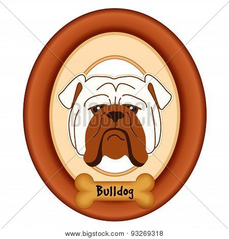 Bulldog Portrait, Wood Frame, Dog Bone Treat Tag