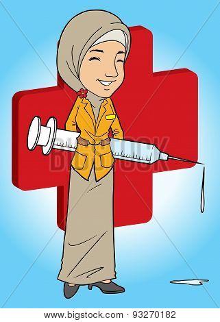 Asian Muslim Lady with Big Needle
