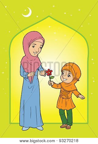 Muslim Little Girl Giving Flower