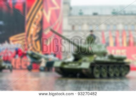 Parade on Red Square in Moscow blur background