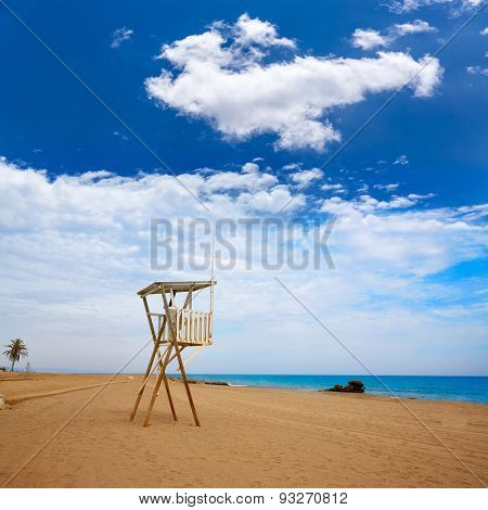 Almeria Mojacar beach lifeguard in Mediterranean sea of Spain