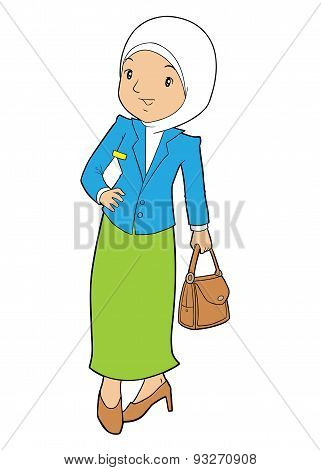 Office Lady Posing Carrying a Bag