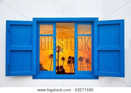 Almeria view from window of Cabo de Gata palm tree sunset photo mount