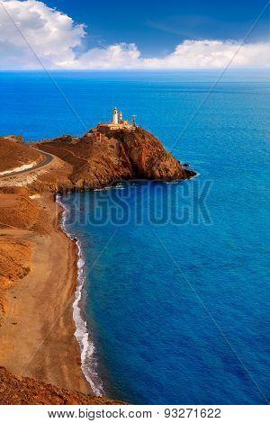 Almeria Cabo de Gata lighthouse aerial in Mediterranean sea of Spain
