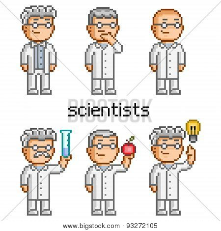 Vector pixel art scientist. Doctor, professor, teacher and chemi