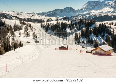 Sunny Ski Slope At Ski Resort