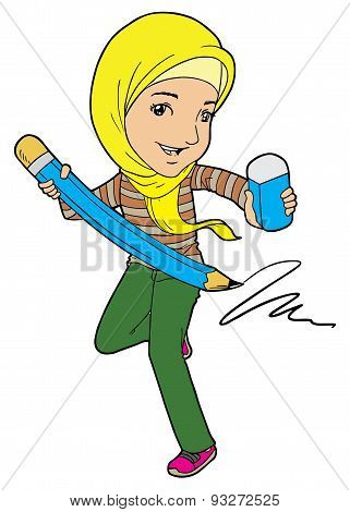 Muslim Girl with Big Pencil