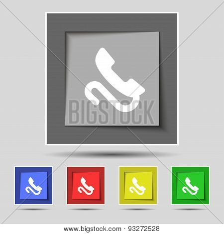 Retro Telephone Handset  Icon Sign On Original Five Colored Buttons. Vector