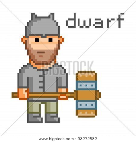 Pixel dwarf for 8 bit video game