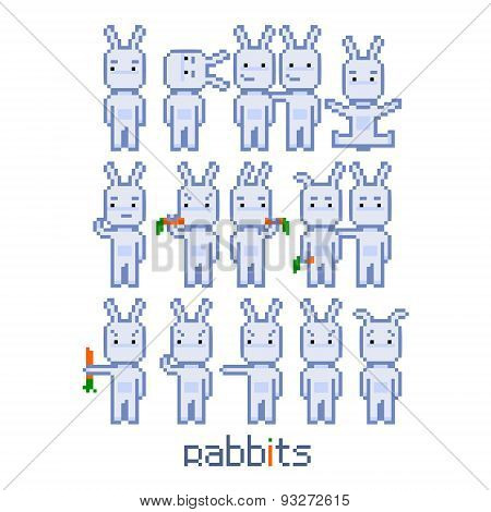 Pixel set rabbits for 8 bit video game