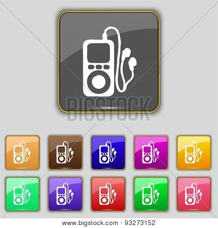 Mp3 Player, Headphones, Music Icon Sign. Set With Eleven Colored Buttons For Your Site. Vector