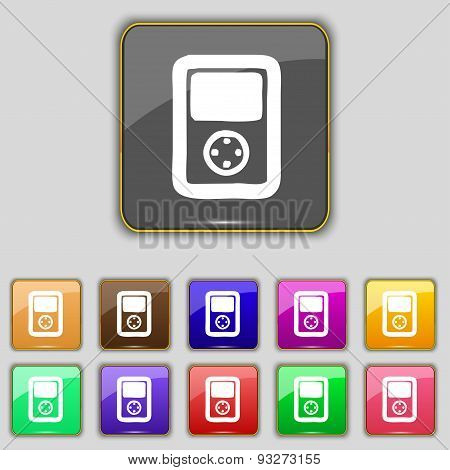 Tetris, Video Game Console Icon Sign. Set With Eleven Colored Buttons For Your Site. Vector