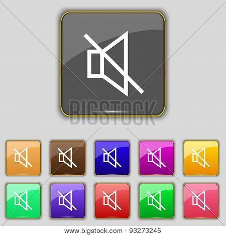 Without Sound, Mute Icon Sign. Set With Eleven Colored Buttons For Your Site. Vector
