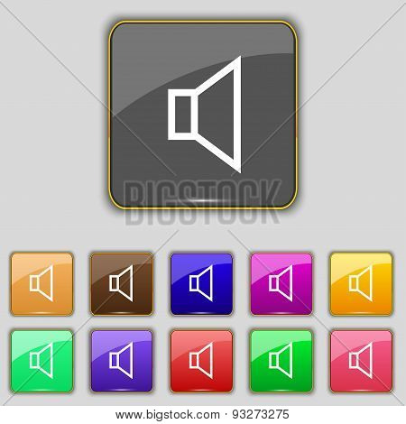 Volume, Sound  Icon Sign. Set With Eleven Colored Buttons For Your Site. Vector