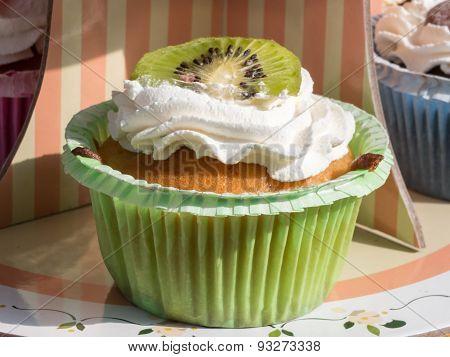 Kiwi Dessert Fruit Tart Pastry With Whipped Cream