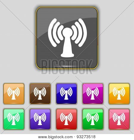 Wi-fi, Internet Icon Sign. Set With Eleven Colored Buttons For Your Site. Vector