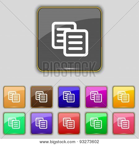 Copy Icon Sign. Set With Eleven Colored Buttons For Your Site. Vector